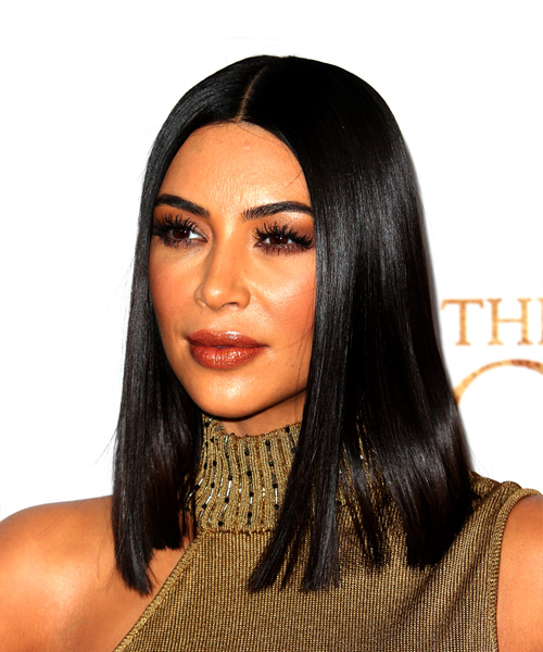 Kim Kardashian Medium Straight Formal Bob Hairstyle - Black Hair Color - side on view