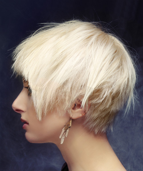 Short Straight Casual Shag Hairstyle with Blunt Cut Bangs - Light Blonde Hair Color - side on view