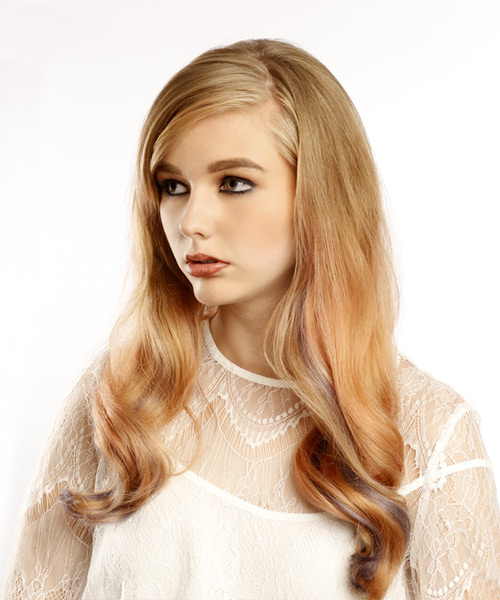 Long Wavy Formal Hairstyle with Side Swept Bangs - Medium Blonde Hair Color - side on view