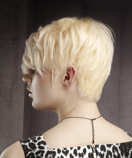 Short Straight Casual Pixie Hairstyle with Side Swept Bangs - Light Blonde (Platinum) Hair Color - side on view