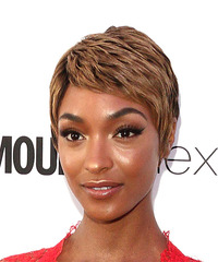 Jourdan Dunn Short Straight Casual Pixie with Layered Bangs - Light Brunette - side on view