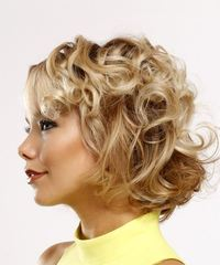 Short Curly Casual  with Side Swept Bangs - Light Blonde - side on view