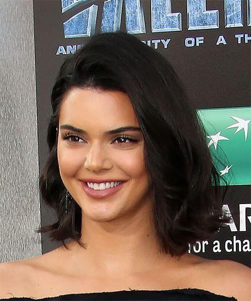 Kendall Jenner Medium Straight Casual Bob Hairstyle - Dark Brunette Hair Color - side on view