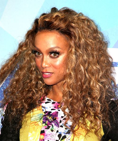 Tyra Banks Long Curly Hairstyle - Dark Blonde - side view