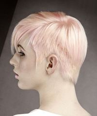 Short Straight Formal Pixie with Side Swept Bangs - Pink - side on view