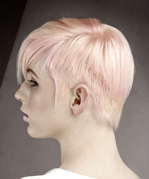 Short Straight Formal Pixie Hairstyle with Side Swept Bangs - Pink Hair Color - side on view