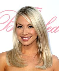 Stassi Schroeder Medium Straight Casual  with Side Swept Bangs - Light Blonde (Ash) - side on view