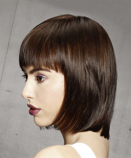 Medium Straight Formal Bob Hairstyle - Medium Brunette Hair Color - side on view