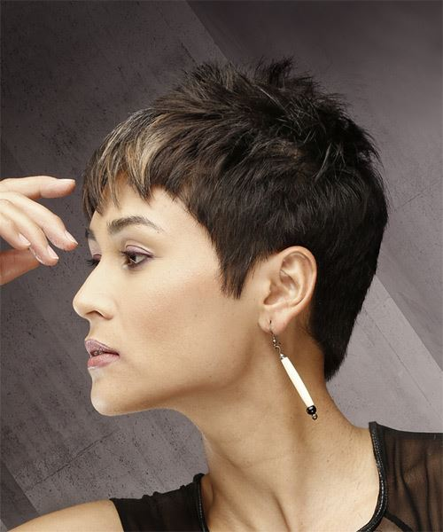 Short Straight Casual Pixie Hairstyle with Razor Cut Bangs - Dark Brunette Hair Color - side on view