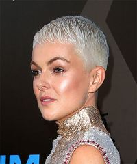 Serinda Swan Short Straight Formal Pixie with Layered Bangs - Light Blonde (Platinum) - side on view