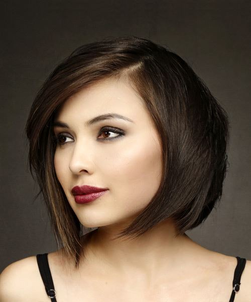 Short Straight Formal Bob Hairstyle with Side Swept Bangs - Medium Brunette Hair Color - side on view
