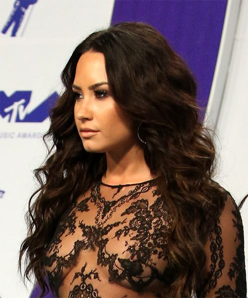 Demi Lovato Long Wavy Casual Hairstyle - Dark Brunette Hair Color - side view