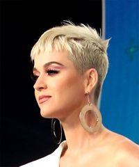 Katy Perry Short Straight Casual Pixie with Blunt Cut Bangs - Light Blonde (Platinum) - side on view