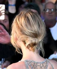 Jennifer Lawrence Medium Straight Casual Bob Updo - Light Blonde - side on view
