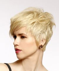 Short Straight Casual Pixie with Side Swept Bangs - Light Blonde (Honey) - side on view