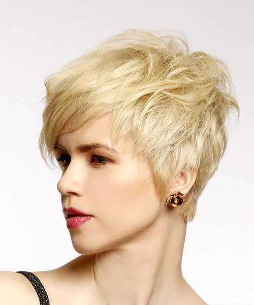 Short Straight Casual Pixie Hairstyle with Side Swept Bangs - Light Blonde (Honey) Hair Color - side on view