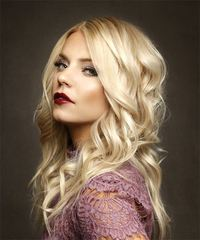 Long Wavy Formal  - Light Blonde - side on view