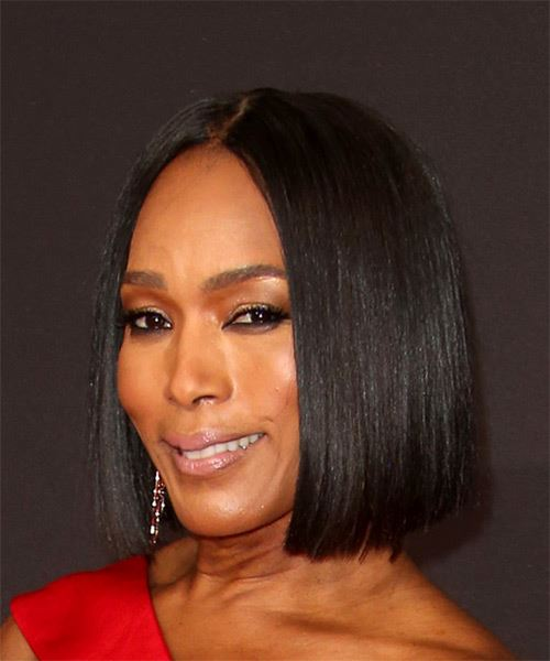 Angela Bassett Short Straight Formal Bob Hairstyle - Black Hair Color - side on view