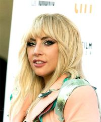 Lady Gaga Long Wavy Casual  with Blunt Cut Bangs - Light Blonde (Champagne) - side on view