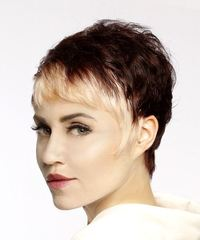 Short Straight Alternative Pixie with Asymmetrical Bangs - Light Blonde - side on view