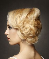 Long Straight Formal Wedding Updo with Side Swept Bangs - Light Blonde (Golden) - side on view