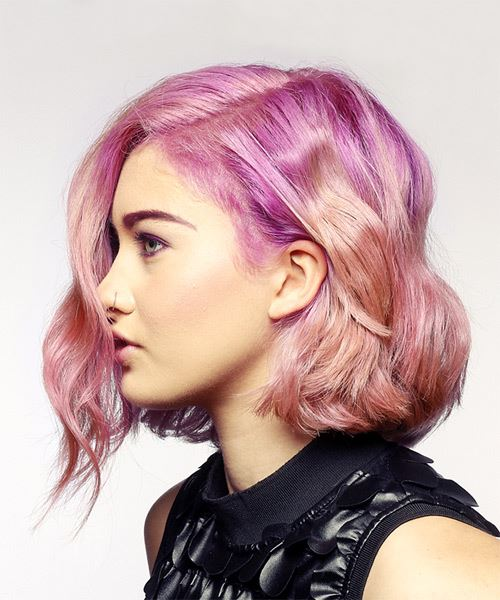 Short Wavy Alternative Bob Hairstyle - Pink Hair Color - side on view