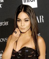 Vanessa Hudgens Long Straight Casual  - Dark Brunette (Mocha) - side on view
