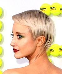 Andrea Riseborough Short Straight Casual Pixie with Side Swept Bangs - Light Blonde - side on view