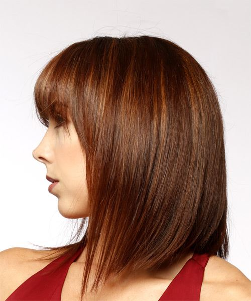 Medium Straight Formal Bob Hairstyle with Layered Bangs - Medium Red Hair Color - side on view