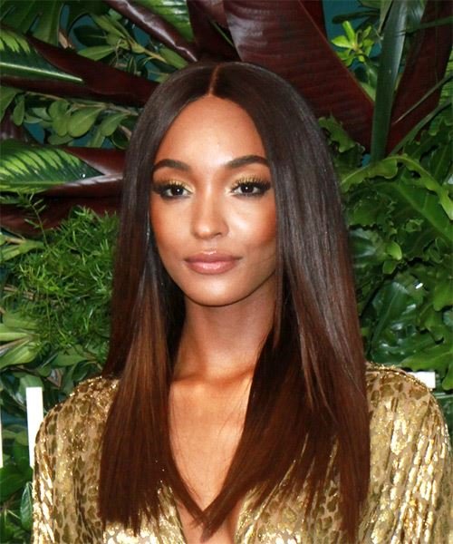 Jourdan Dunn Long Straight Formal Hairstyle - Medium Brunette Hair Color - side on view