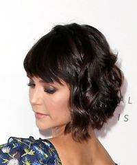 Nina Dobrev Short Wavy Casual Bob with Side Swept Bangs - Dark Brunette - side on view