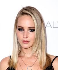 Jennifer Lawrence Medium Straight Casual  - Light Blonde - side on view