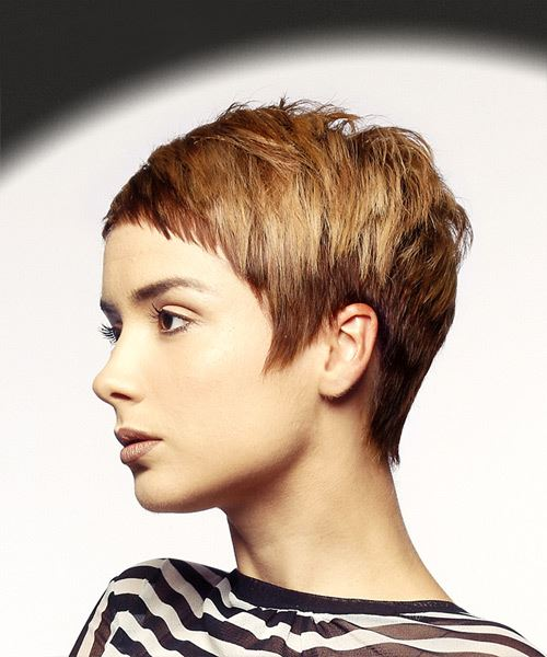 Short Straight Casual Pixie Hairstyle with Asymmetrical Bangs - Medium Red Hair Color - side on view