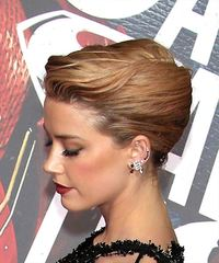Amber Heard Long Wavy Formal  Updo - Medium Blonde - side on view