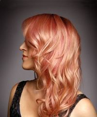 Medium Wavy Formal  with Side Swept Bangs - Pink - side on view