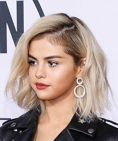 Selena Gomez Medium Wavy Casual Bob Hairstyle - Light Blonde Hair Color - side on view