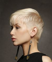 Short Straight Casual Pixie with Layered Bangs - Light Blonde - side on view