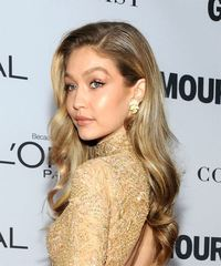 Gigi Hadid Long Wavy Casual  - Medium Blonde - side on view