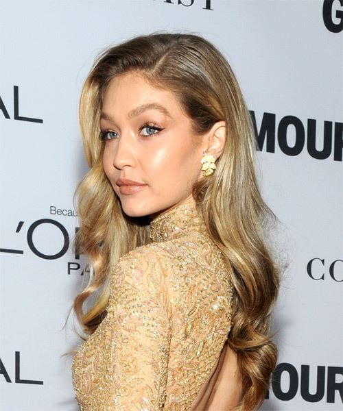 Gigi Hadid Long Wavy Casual Hairstyle - Medium Blonde Hair Color - side on view