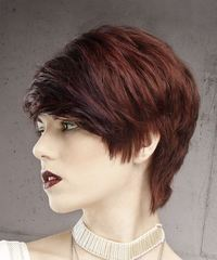 Short Straight Formal Pixie with Side Swept Bangs - Dark Red - side on view