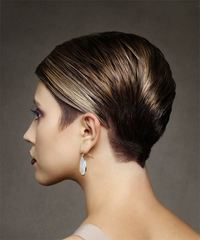 Short Straight Formal Pixie with Side Swept Bangs - Medium Brunette - side on view