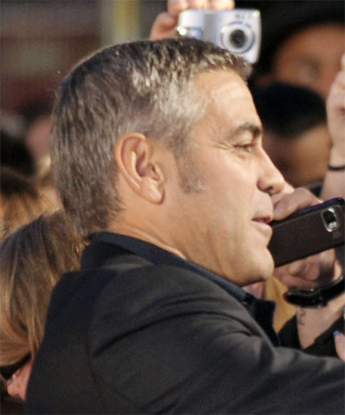 George Clooney Short Straight Hairstyle - Light Brunette (Salt and Pepper) - side view