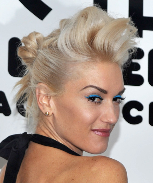 Gwen Stefani Long Straight Alternative Hairstyle - Light Blonde (Champagne) Hair Color - side on view
