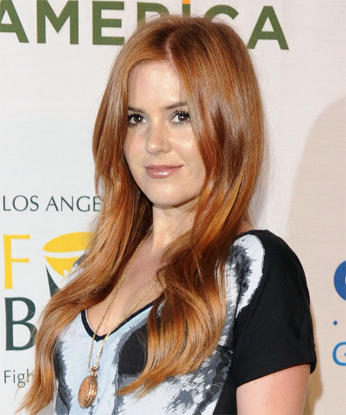 Isla Fisher Long Wavy Hairstyle - Light Red (Copper) - side view
