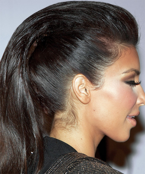 Kim Kardashian Updo Long Straight Formal Updo Hairstyle - Dark Brunette Hair Color - side view