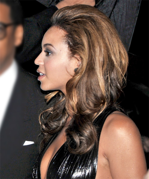 Beyonce Knowles Long Wavy Formal Hairstyle - Dark Brunette (Chocolate) Hair Color - side view