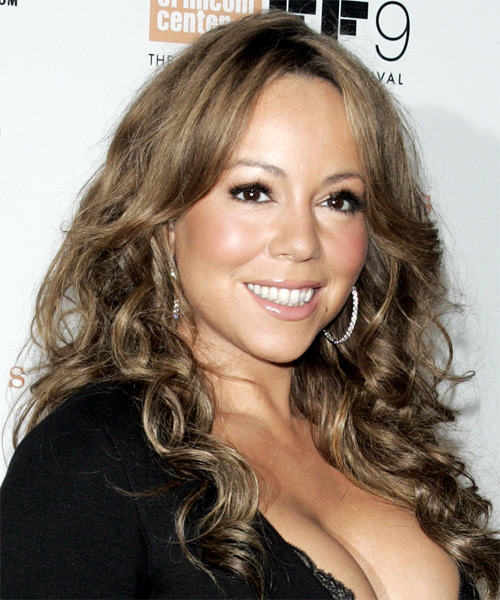 Mariah Carey Long Curly Hairstyle - side view