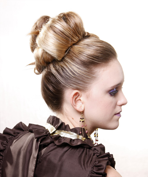 Formal Straight Updo Hairstyle - Medium Blonde - side view 2