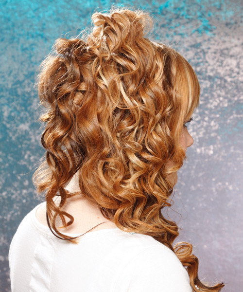 Formal Curly Half Up Hairstyle - Medium Brunette (Golden) - side view 2