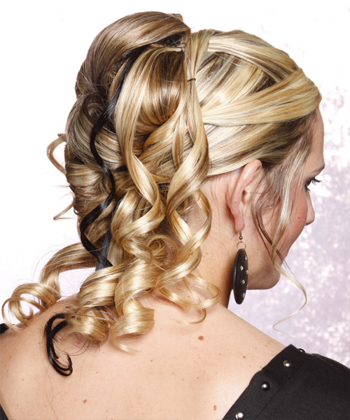 Curly Formal Half Up Hairstyle - side on view